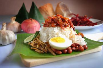 Traditional Malaysia Coconut Rice Nasi Lemak