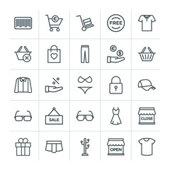 Modern Simple Set of clothes, shopping Vector outline Icons. ..Contains such Icons as  reject,  illustration,  dress,  design,  gift,  stand and more on white background. Fully Editable. Pixel Perfect
