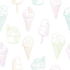 Ice cream graphic color sweet food seamless pattern background sketch illustration vector