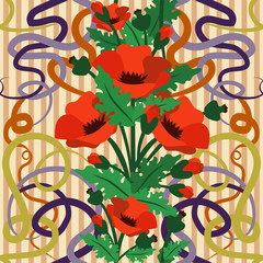 Seamless  wallpaper with poppy flowers in art nouveau style, vector illustration