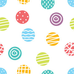 Cute seamless pattern, polka dot fabric, wallpaper, vector.