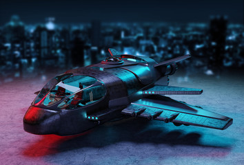 Futuristic spacecraft isolated on dark background 3D rendering