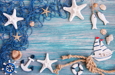 Fishing net with starfish and sea decorations