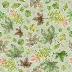 Falling Leaves Seamless Pattern on Green Background. Watercolor Botanic Illustration. Forest Leaves Seamless Rapport for Background, Print, and Textile.