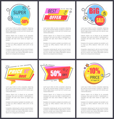 Super Price -50 and Big Sale Vector Illustration
