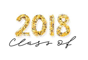 Class of 2018. Hand drawn brush lettering Graduation logo. Modern calligraphy. Vector illustration.