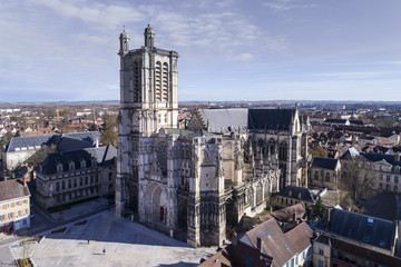 Troyes, Aerial view of Saint-Pierre-et-Saint-Paul Cathedral,