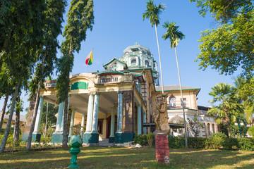 YANGON, MYANMAR - JAN 11, 2015 : Yangon old building architecture in Chinatown, Yangon, Myanmar