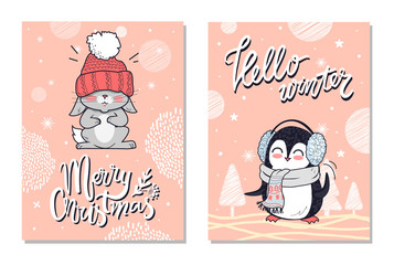 Merry Christmas Greeting Cards with Penguin Rabbit