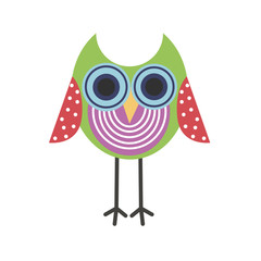 Little green owl icon, colorful owl icon for print, cute owl logo, cartoon owl for wallpaper