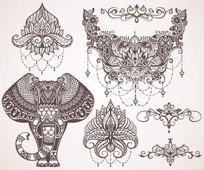 Lotus, hamsa, elephant, Ganesha. Mihendi style