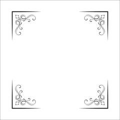 Decorative corners, swirls, ornate frame, Page decoration, Wedding design, Filigree dividers. Vector.