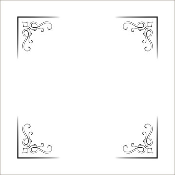 Decorative corners, swirls, ornate frame, Page decoration, Wedding design, Filigree dividers. Vector.