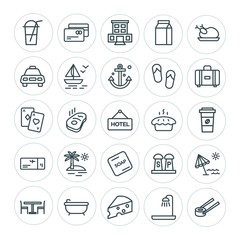 Modern Simple Set of food, hotel, drinks, travel Vector outline Icons. ..Contains such Icons as  room,  building,  design, salt,  vacation and more on white background. Fully Editable. Pixel Perfect