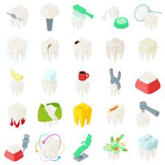 Tooth teeth dentist icons set. Isometric illustration of 25 tooth teeth dentist vector icons for web