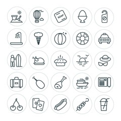 Modern Simple Set of food, hotel, drinks, travel Vector outline Icons. ..Contains such Icons as  sea,  sky,  kebab,  toy,  fresh,  sausage and more on white background. Fully Editable. Pixel Perfect