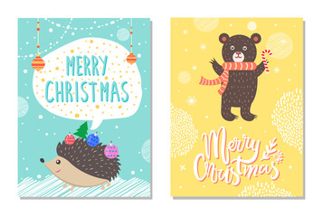Merry Christmas Wishes from Hedgehog, Bear Candy