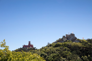 Moorish Castle and Pena Palace in Sintra, Portugal