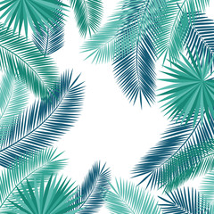 Summer background with tropical leaves and flowers. Floral elements for your design. Vector illustration.