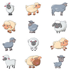 Sheep cute lamb farm icons set. Cartoon illustration of 12 sheep cute lamb farm vector icons for web