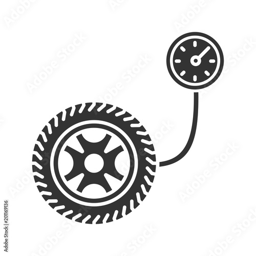 Tire Pressure Gauge Glyph Icon Stock Image And Royalty Free Vector