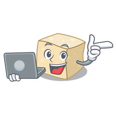 With laptop tofu character cartoon style