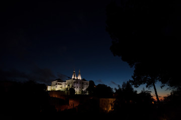 Sintra National Palace at night, Sintra, Portugal