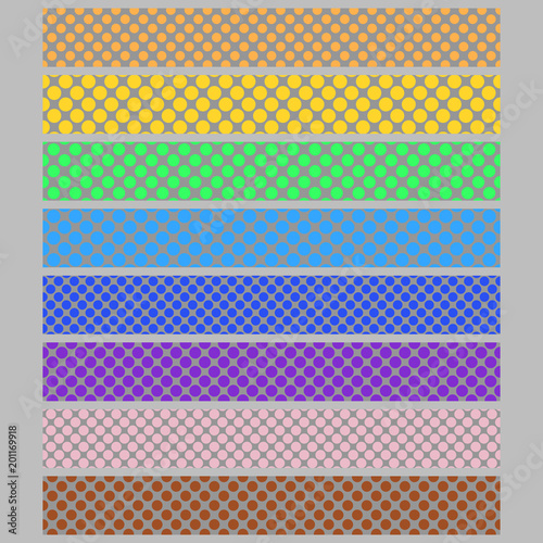 colored polka dot pattern background web banner template set
