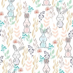 Vector seamless pattern with rabbits and flowers