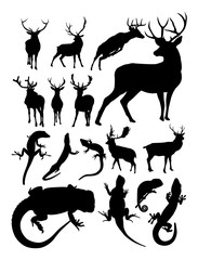 Deer and lizard animal detail silhouette. Vector, illustration. Good use for symbol, logo, web icon, mascot, sign, or any design you want.
