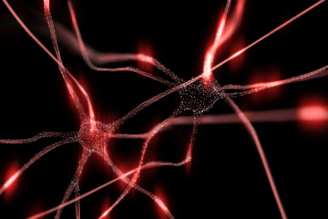 Artistic red colored neurons in the brain illustration on black background. Selective focus used.