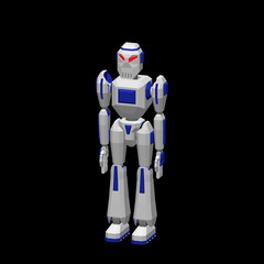 Robot character. Isolated on black background. 3d Vector illustration.