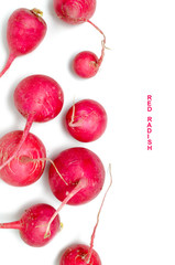 Red radish on white background.Healthy vegetables.