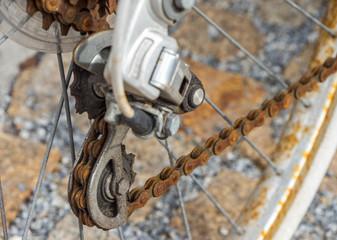 verrostete Fahrradkette,Gangschaltung