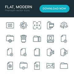 Modern Simple Set of folder, video, photos, files Vector outline Icons. ..Contains such Icons as  document,  photo,  camera,  flash,  light and more on white background. Fully Editable. Pixel Perfect