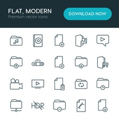 Modern Simple Set of folder, video, photos, files Vector outline Icons. ..Contains such Icons as  cd,  landscape, hdr,  design,  business and more on white background. Fully Editable. Pixel Perfect