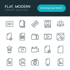 Modern Simple Set of folder, video, photos, files Vector outline Icons. ..Contains such Icons as  design,  illustration,  data, camera,  zip and more on white background. Fully Editable. Pixel Perfect
