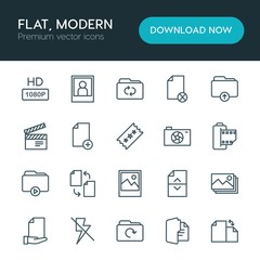 Modern Simple Set of folder, video, photos, files Vector outline Icons. ..Contains such Icons as portrait, add,  illustration, internet,  tv and more on white background. Fully Editable. Pixel Perfect