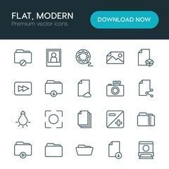 Modern Simple Set of folder, video, photos, files Vector outline Icons. ..Contains such Icons as portrait,  cinema,  iso,  entertainment and more on white background. Fully Editable. Pixel Perfect