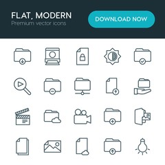 Modern Simple Set of folder, video, photos, files Vector outline Icons. ..Contains such Icons as  storage,  picture,  business,  camera and more on white background. Fully Editable. Pixel Perfect