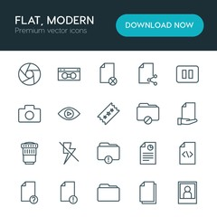 Modern Simple Set of folder, video, photos, files Vector outline Icons. ..Contains such Icons as portrait,  vhs,  shot, video,  lens, camera and more on white background. Fully Editable. Pixel Perfect