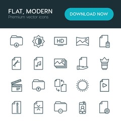 Modern Simple Set of folder, video, photos, files Vector outline Icons. ..Contains such Icons as  file, music,  data,  zip,  black,  scenery and more on white background. Fully Editable. Pixel Perfect