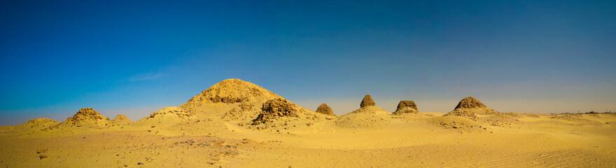 Sunset view to Nuri pyramids in desert, Napata, Karima region , Sudan