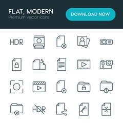 Modern Simple Set of folder, video, photos, files Vector outline Icons. ..Contains such Icons as  sign,  computer,  picture,  block, file and more on white background. Fully Editable. Pixel Perfect