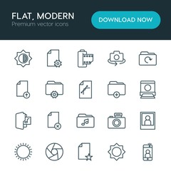 Modern Simple Set of folder, video, photos, files Vector outline Icons. ..Contains such Icons as  shot,  mobile,  landscape,  camera,  file and more on white background. Fully Editable. Pixel Perfect