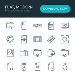 Modern Simple Set of folder, video, photos, files Vector outline Icons. ..Contains such Icons as  data,  document,  icon,  light,  text,  tv and more on white background. Fully Editable. Pixel Perfect