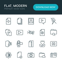 Modern Simple Set of folder, video, photos, files Vector outline Icons. ..Contains such Icons as  data,  camera,  photography,  file, stop and more on white background. Fully Editable. Pixel Perfect