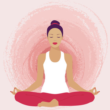 Vector illustration of a woman in a lotus pose.
