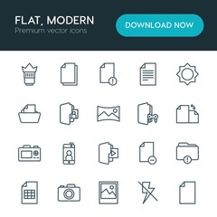 Modern Simple Set of folder, video, photos, files Vector outline Icons. ..Contains such Icons as  delete,  connection,  design,  office and more on white background. Fully Editable. Pixel Perfect