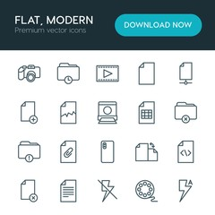 Modern Simple Set of folder, video, photos, files Vector outline Icons. ..Contains such Icons as  information,  text, broken, time,  delete and more on white background. Fully Editable. Pixel Perfect